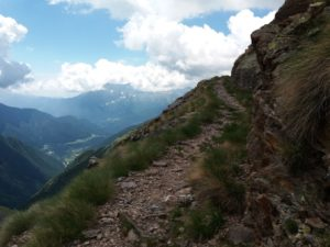 Following the sometimes narrow mountain trail on the Orobie Alps above the Vivione hut.